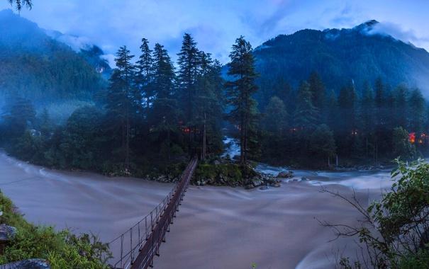 Фото обои горы, мост, Индия, Химачал-Прадеш, река Парвати