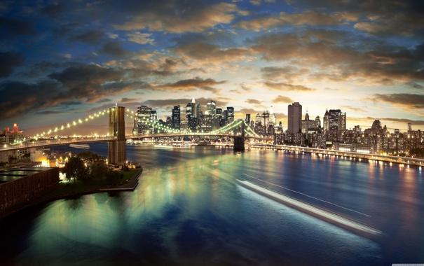 Фото обои город, манхеттен, бруклинский мост, New-York, Нью- Йорк