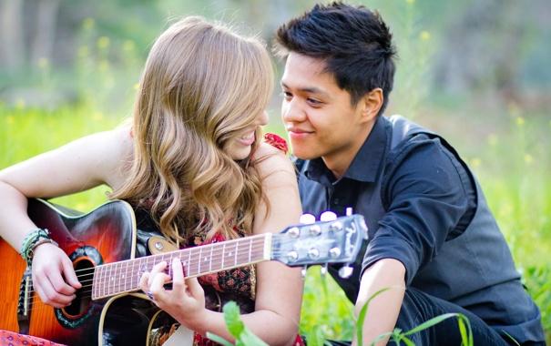 Фото обои девушка, настроение, гитара, парень