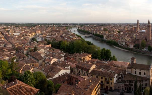Фото обои город, фото, дома, горизонт, Италия, сверху, Verona