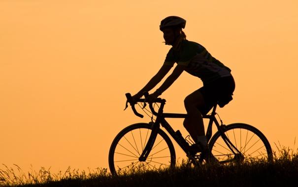 Фото обои девушка, вечер, силуэт, bike road