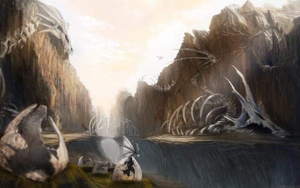 Фото обои яйца, драконы, арт, ущелье, скелеты