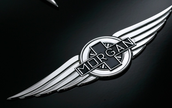 Фото обои logo, Morgan aero supersports, black, wings, Silver