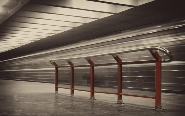 Фото обои поток, сепия, Метро, перила, Жизнь, life, metro