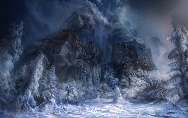 Фото обои снег, горы, город, скалы, дома, арт
