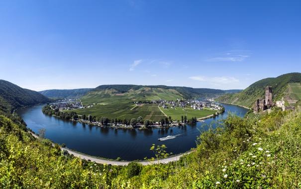 Фото обои природа, река, Германия, Germany, river Mosel