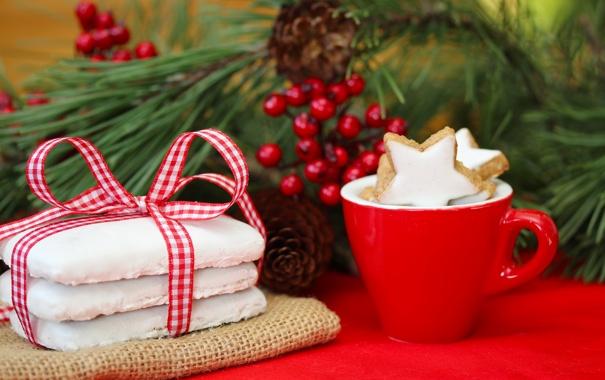 Фото обои зима, ветка, Новый Год, печенье, Рождество, чашка, Christmas