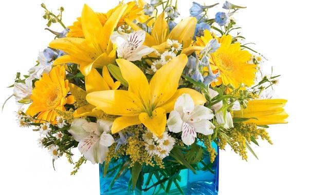 Фото обои лилии, ромашки, букет, ваза