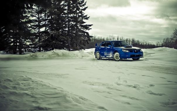 Фото обои зима, снег, Subaru, STI