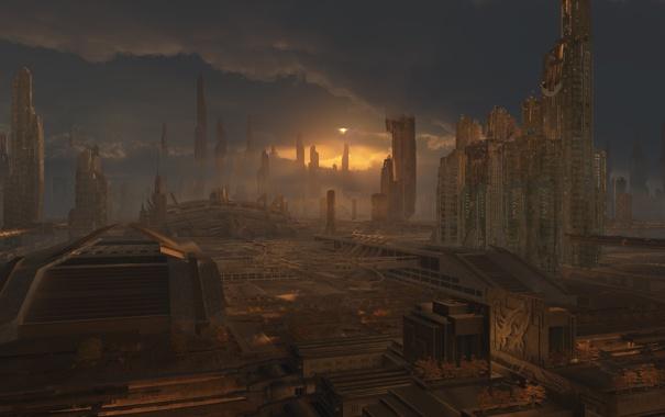 Фото обои город, будущее, арт, постройки, phoenix rising, Plate projects