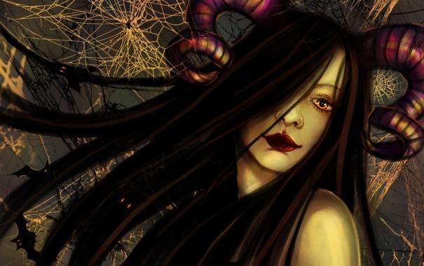 Фото обои девушка, лицо, волосы, рога, minerva, лежащая