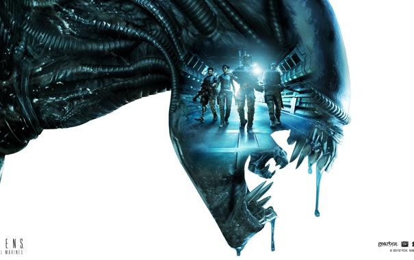 Фото обои монстр, зубы, Чужой, солдаты, Alien, слизь, икла