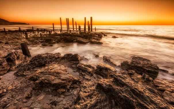 Фото обои пляж, пейзаж, природа, камни, океан, рассвет, утро