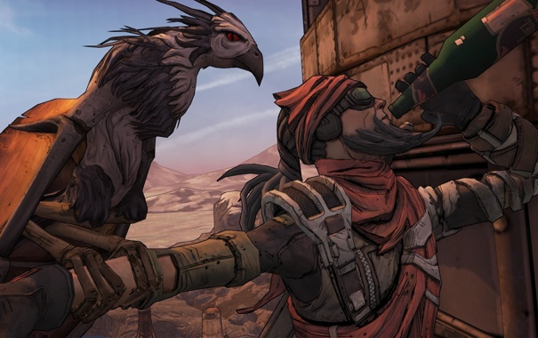 Фото обои птица, бутылка, Охотник, 2K Games, Borderlands 2, Gearbox Software, Mordecai