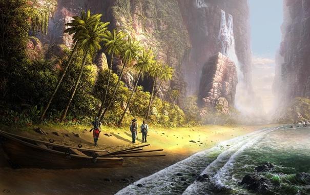 Фото обои море, пальмы, люди, лодка, водопад, Fel-X