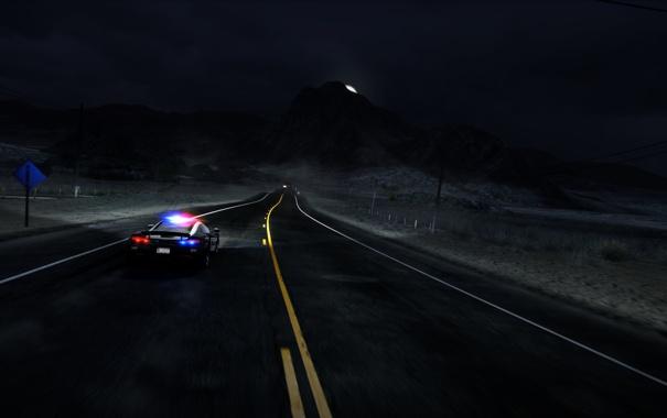 Фото обои машина, ночь, трасса, полиция, need for speed, nfs, hot pursuit