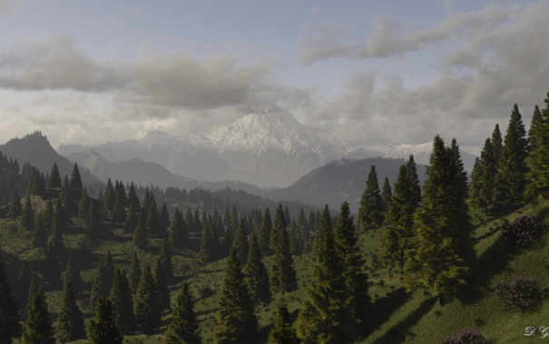 Фото обои лес, горы, тучи, природа, холмы, вид, арт
