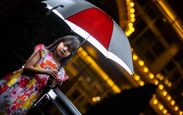 Фото обои настроение, зонт, девочка
