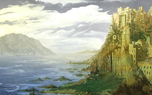 Фото обои море, горы, город, скала, замок, арт, Castle Alexandria
