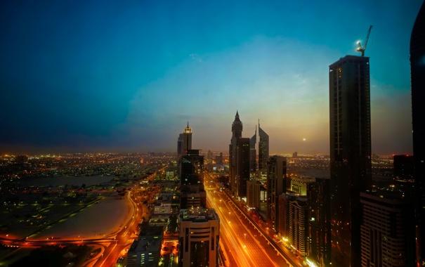 Фото обои небо, ночь, city, город, огни, луна, вид