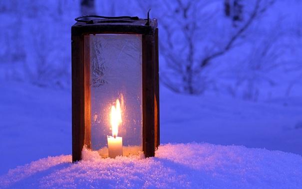 Фото обои зима, свет, снег, ночь, свеча, фонарь, winter