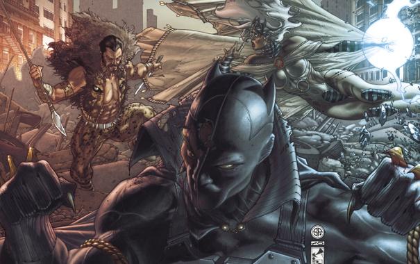 Фото обои город, пантера, маска, драка, разрушение, черная, супергерои