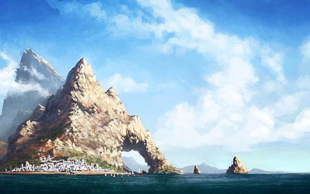 Фото обои море, вода, облака, пейзаж, город, скалы, рисунок