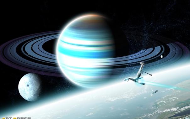 Фото обои explorers of the unknown, планета, кольца, спутники