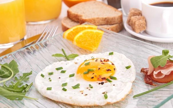 Фото обои апельсин, завтрак, яичница, бекон, зеленый лук