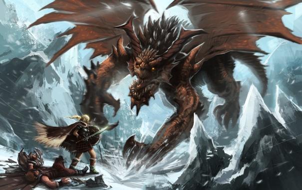 Фото обои холод, зима, снег, оружие, фантастика, дракон, арт