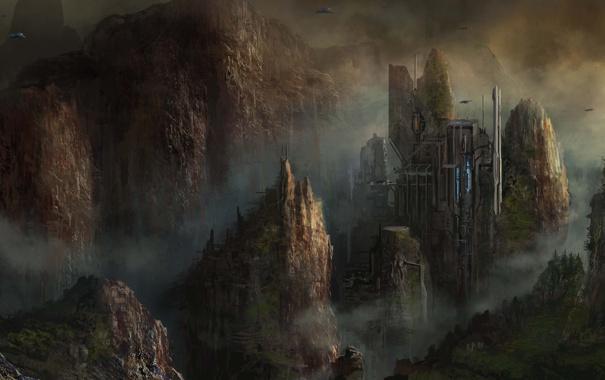 Фото обои город, скалы, корабли, арт, cloudminedesign