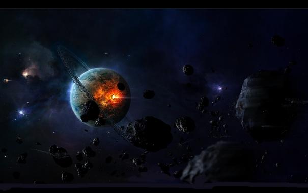 Фото обои взрыв, камни, огонь, планета