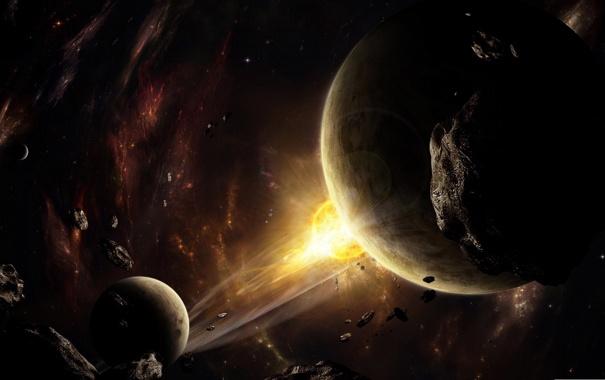 Фото обои взрыв, пространство, планеты, вспышка, астероиды, космическое