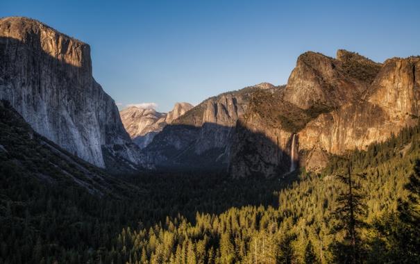Фото обои пейзаж, горы, деревья
