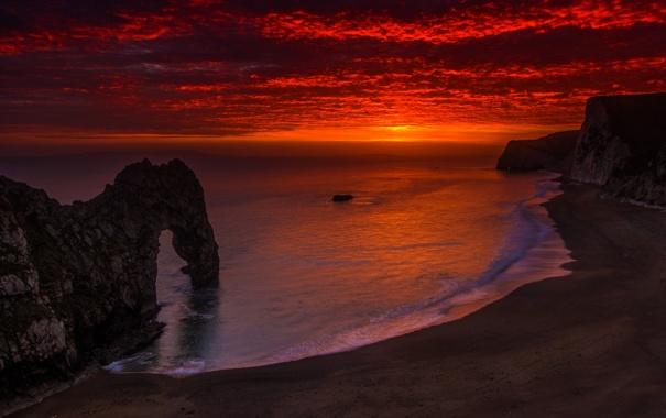 Фото обои закат, облака, скалы, небо, вечер, море, берег