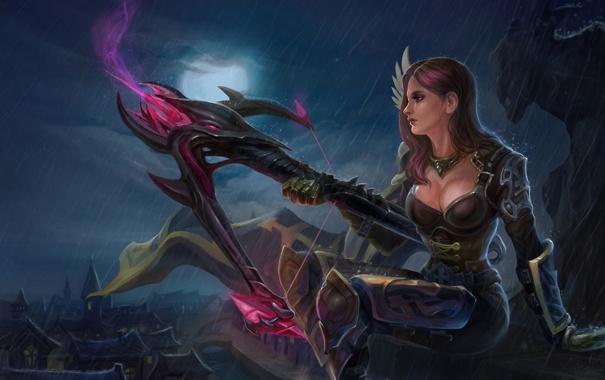 Фото обои девушка, ночь, город, оружие, дождь, луна, арт