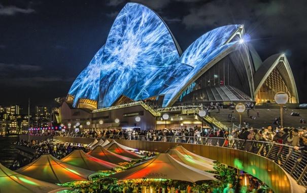 Фото обои небо, ночь, огни, люди, Австралия, театр, Сидней