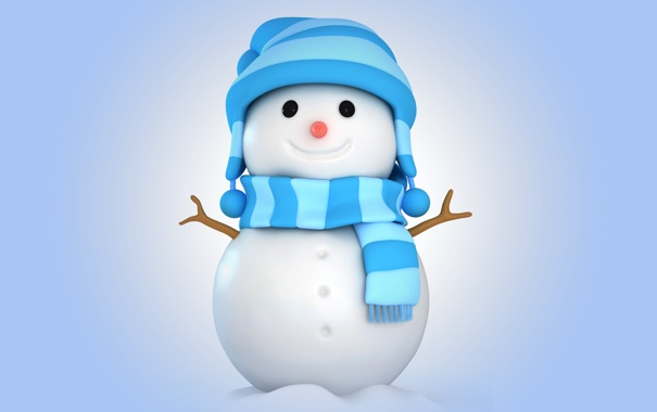 Фото обои зима, снег, снеговик, christmas, new year, winter, snow