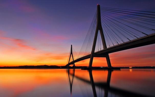 Фото обои закат, река, мост, испания