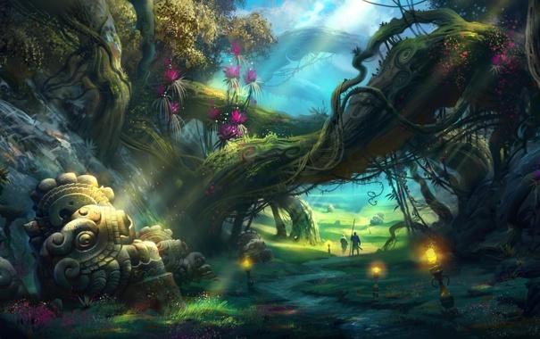 Фото обои заросли, фонари, фэнтези, корни, скульптура, путники, дорога