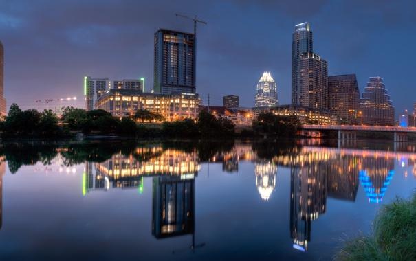 Фото обои ночь, город, огни, озеро, отражение, Austin, Texas