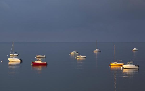 Фото обои море, небо, лодка, утро, яхта