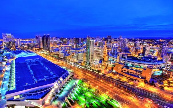 Фото обои ночь, огни, улица, дома, панорама, США, San Diego