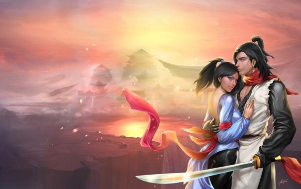 Фото обои туман, ленты, Девушка, меч, воин, дворец