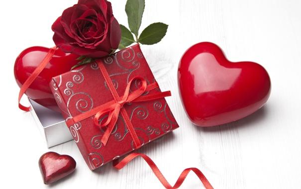 Фото обои цветок, подарок, сердце, роза, красная, коробочка