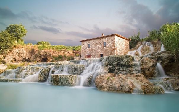 Фото обои природа, Италия, домик, водопады, Italy, Saturnia, Сатурния