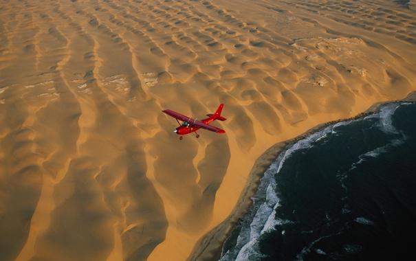 Фото обои Beach, Airplane, Ocean, Desert, Plane, Aerial