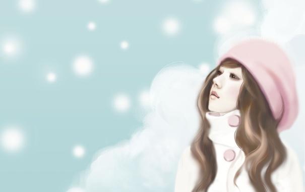 Фото обои девушка, снежинки, шатенка, шапочка, мечтательность, Enakei