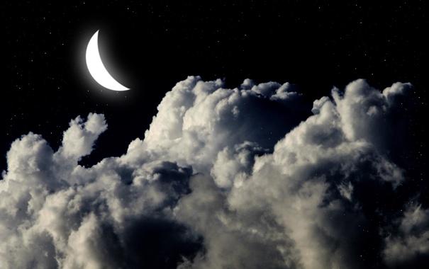 Фото обои небо, звезды, облака, ночь, природа, фон, widescreen