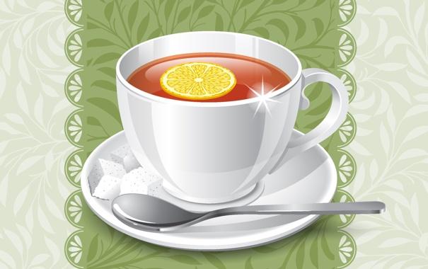 Фото обои фон, лимон, чай, ложка, чашка, блюдце